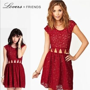 Lovers + Friends red lace cut out mini dress S